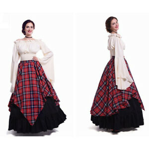 Women Renaissance Drama Dress Peasant Medieval Costume Gown Tavern Wench Cosplay