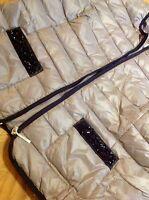🕊LUXUS Echte Leicht Daunenjacke Silbergrau Perlenstickerei Größe 48 NEU !