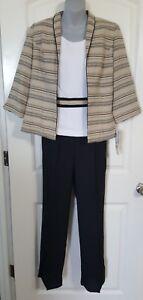 Women's 3 Piece Set K Petite Collection Black Tan White Size 6P NWT Retail $100