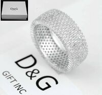 DG Mens 925 Sterling Silver,CZ Iecd-Out Eternity,Rings Unisex 7 8 9 10-12 13,Box