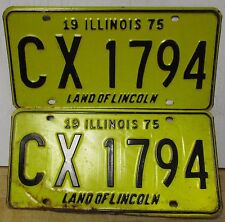 1975 Illinois license plates tag PAIR Land of Lincoln CX 1794 yellow black