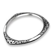 925 Sterling Silver Plated Fashion Unisex Carved Bangle Love Bracelet Jewelry