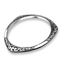 925 Silver Plated Carved Irregular Bracelet Bangle Charm Women Fashion Jewelry