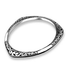 Fashion Jewelry 925 Sterling Silver Plated Unisex's Carved Cuff Bangle Bracelet