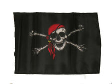"12x18 12""x18"" Jolly Roger Pirate Red Hat Sleeve Flag Boat Car Garden"