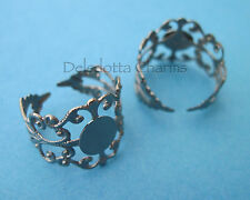 PACK OF 5 RING BLANKS FILIGREE BLACK/GUNMETAL JEWELLERY MAKING FINDINGS (i5)