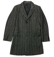 Z Zegna Men's Coat Size 42 R / 52 EU Gray Wool Herringbone Twill