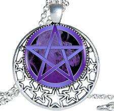 Purple Pentagram Pendant Necklace - Wiccan