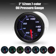 """Universal 2"""" 52mm 7 Color LED Electronic 140 psi Oil Pressure Gauge Meter Sensor"""