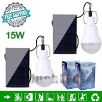 15W Portable LED Bulb Solar Powered Panel LED Lighting System Outdoor Indoor USA