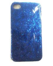 Glitzer Handy Tasche Cover Etui Strass Bling Schutz Hülle Case für iPhone 4 blau