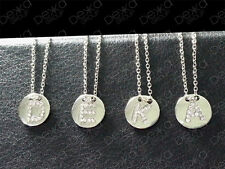 925 Silver SP Initial Personalised Pave Letter Alphabet Disc Charm Necklace