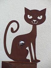 Katze Rost Katze mit Edelstahlkugel 40 mm Edelrost Metall Rost Deko Garten Kugel