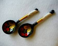 Two Vintage Lacquered Spoons Wooden Handcrafted 1987 Cherries