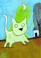 21030932 e9Art ACEO Cat Surrealism Fantasy Outsider Folk Art Painting Whimsical