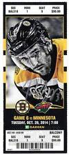 Patrice Bergeron Boston Bruins Signed Autographed 2014-15 vs Wild Ticket - S9