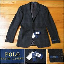 BNWT $1005 Polo Ralph Lauren Custom-Fit Jacket in Gray Glen Plaid Check, 36R 38R