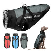 Dog Jacket with Harness Reflective Waterproof Winter Padded Coat Vest Fur Hooded