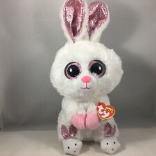 "2020 TY Beanie Boos 9"" Medium SLIPPERS White Easter Bunny Rabbit Plush Toy MWMTs"