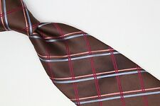 Jos A Bank Silk Neck Tie Brown Pink Light Blue Magenta Plaid Weave Italy Used