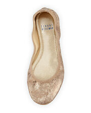 STUART WEITZMAN FRISKY CRACKLED NATURAL KID PENNY BALLET FLATS METALLIC SIZE 7