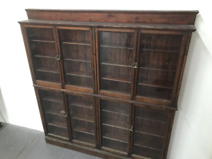 ANTIQUE CHEMISTS APOTHECARY CABINET X8 GLAZED DOORS FULLY SHELVED