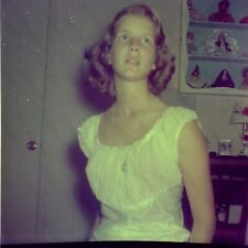 """1950s candid of pretty girl in dress Vintage 2"""" Negative 2Sq4"""