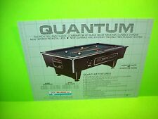 US Billiards QUANTUM Original Vintage Pool Table Arcade Game Promo Sales Flyer