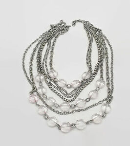 Silver Tone Multi Chain Faceted Plastic Bead Heavy Necklace