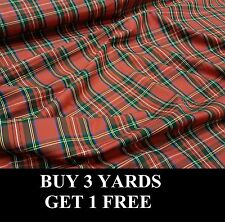 Red Royal Stewart Tartan Cotton Print Crafts Dress-Making Fabric Material OFFER