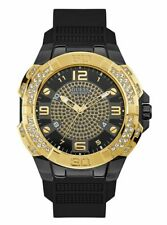 BEAUTIFUL NEW GUESS WATCH UHR MONTRE U1255G1 GOLD-TONE AND BLACK ANALOG WATCH