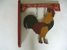 Country Welcome Sign Rooster Handmade Hand Painted All Wood Construction Hanging