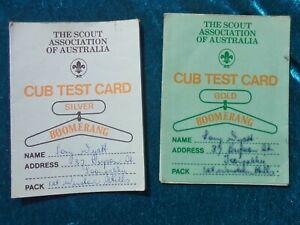 1970's AUSTRALIAN CUB SCOUT BOOMERANG SIVER & GOLD CUB TEST CARDS  BOY SCOUTS