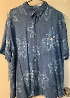 Batik Bay Men's Blue Floral Short Sleeve, Button-down Hawaiian Shirt. Size XL