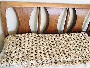 Gorgeous Baby Blanket Handmade Crocheted Tan Cream Brown Soft Throw Openwork MCM