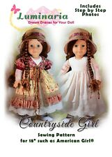 "Digital PDF Dress Pattern With Hat. Fits 18"" American Girl Doll"
