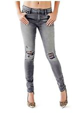 $128 Guess Mid Rise Curve X Skinny Jeans In Smoky Grey Wash With Destroy Size 23