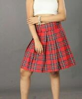 "Red Tartan Mini Skirt School Girls Check Pleated Midi 18"" High Waist Plaid 6-24"