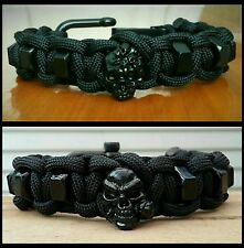 Stealth Skull Hex Nut Paracord Bracelet / Black Adjustable Shackle