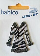 Habico Black & White Coat Iron on Motif Patch Child or Adult Embellishment
