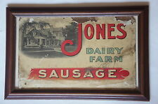 Vintage Antique 1900's Jones Dairy Farm Sausage Crystaloid Advertising Sign Wisc
