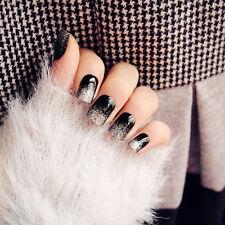 Gift 24pcs Black with Glitter Short False Nails Full Cover Tips Acrylic Nail Art