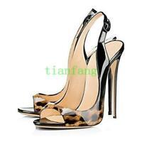 Womens Open Toe High Heel Stiletto Slingback Dress Party Shoes Sandals Plus Size