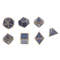 7pcs/pack Polyhedral Metal Dice Standard Size Blue for Dragon Scale D&D RPG