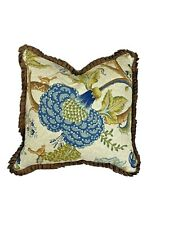 Custom Made Designer Throw Pillow Feather Filled Jacobean Luxury Brown Blue