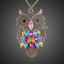 New Lady Women Vintage Bronze Owl Pendant Necklace Long Chain Best Gift For XMAS