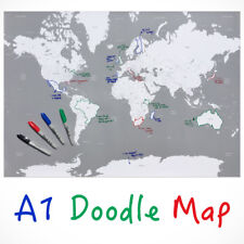Doodle Map of the World Travel Poster Print A1 Draw with Sharpie Felt Tip Pens