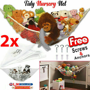 2X LARGE TOY SOFT TEDDY HAMMOCK MESH BABY CHILD BEDROOM TIDY STORAGE NURSERY NET