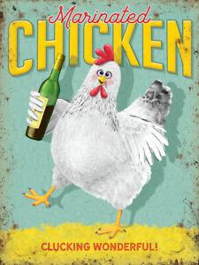 Marinated Chicken Vino Wine Bottle Drunk Humourous Medium Metal/Steel Wall Sign