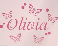 Boys & Girls Custom Name Wall Sticker Personalised Butterfly / Spots 25-28cm